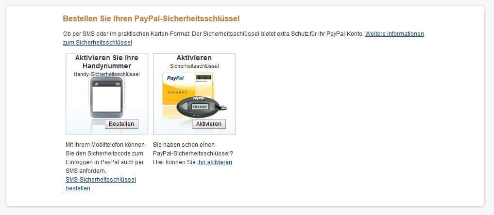 Paypal Sicherheitsschlüssel Sms